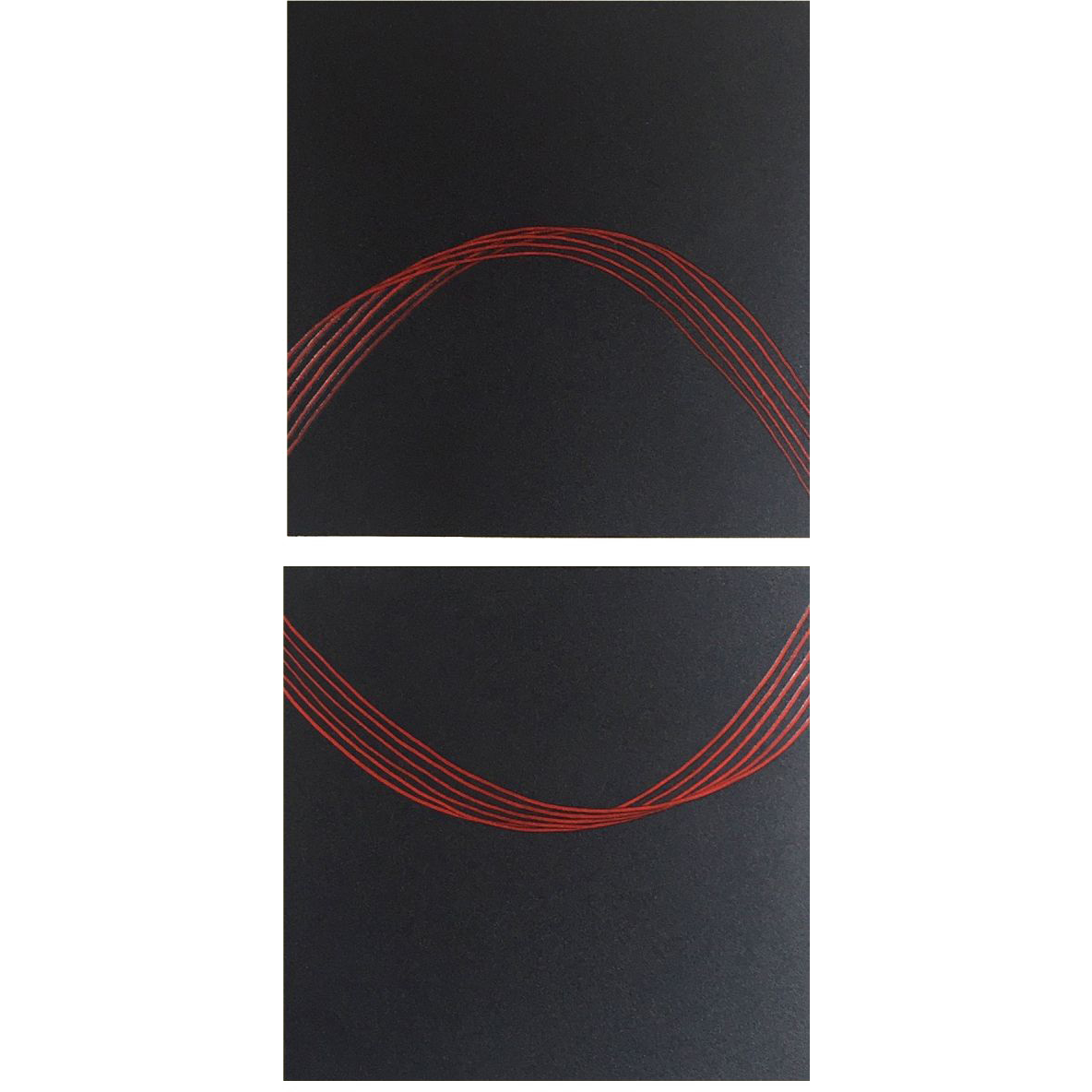 Griphos (1 and 13), 2013, Spray paint and oil on aluminum panel, 16 x 8""