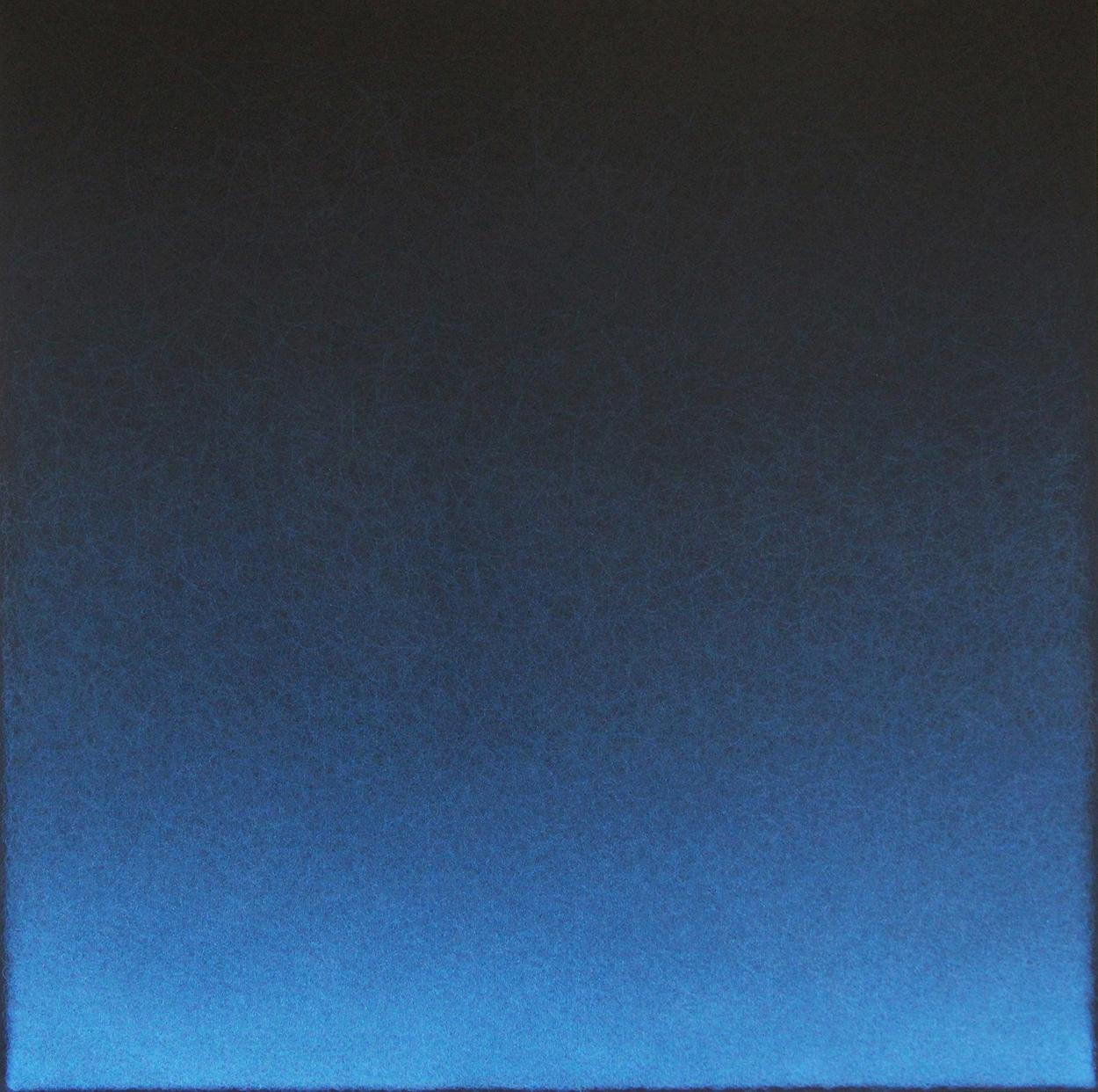 """Quantum Entanglement (Cerulean Blue 2), 2020, Colored pencil on black paper, 25 x 25"""""""