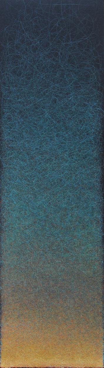 """Quantum Entanglement (Cobalt Green/Vermilion), 2020, Colored pencil on  black paper, 25 x 7"""""""