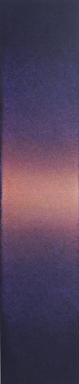 """Quantum Entanglement (Violet/Vermilion), 2020, Colored pencil on black paper, 40 x 7"""""""